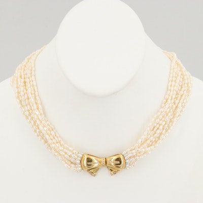 Cultured Pearl Torsade Necklace with 18K Yellow Gold Diamond Bow Clasp