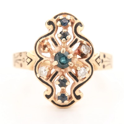 Victorian 14K Yellow Gold Blue Sapphire and Diamond Ring
