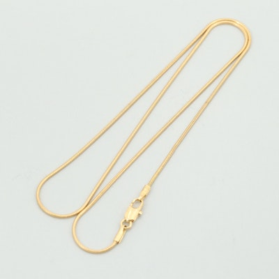 18K Yellow Gold Snake Chain Necklace