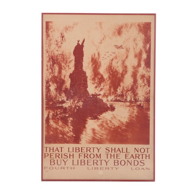 "Joseph Pennell Rotogravure Print ""That Liberty Shall Not Perish From the Earth"""
