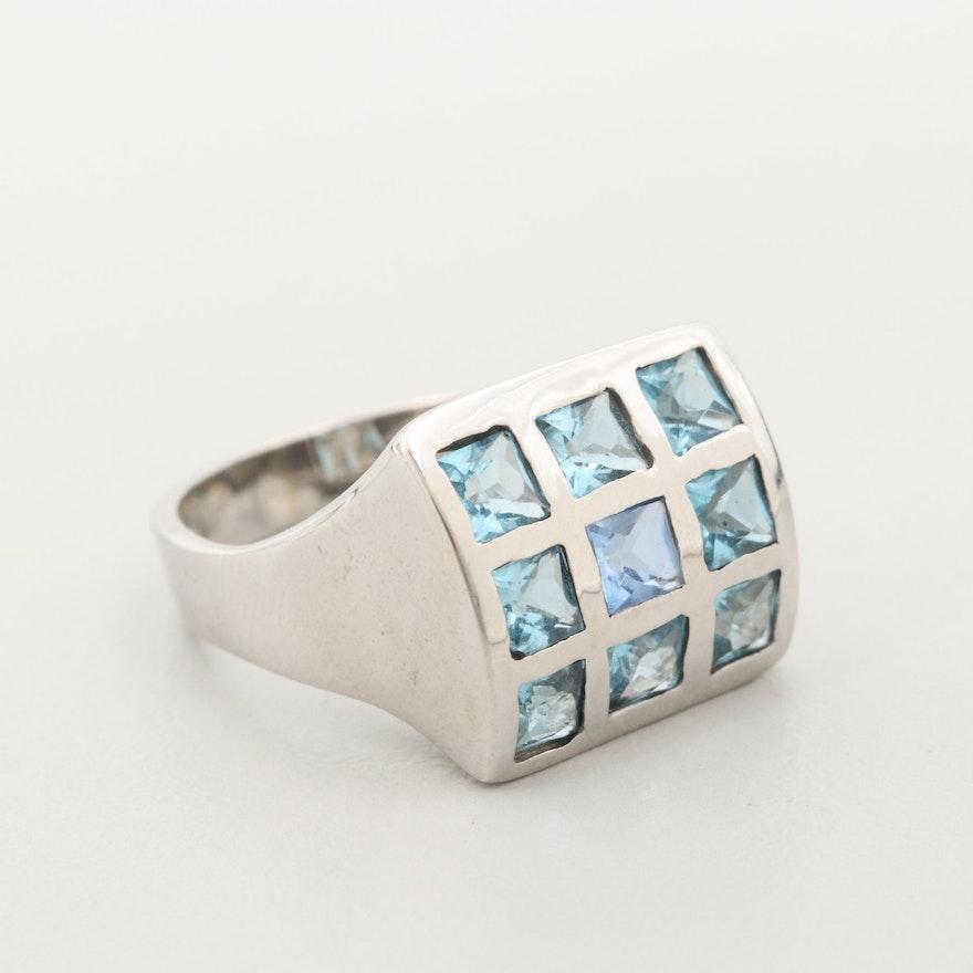 18K White Gold Topaz Checkerboard Ring