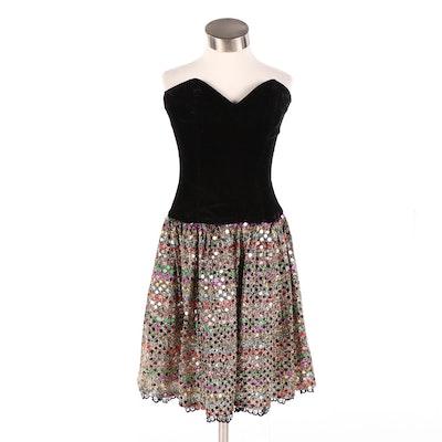 Junior Jessica McClintock Gunne Sax Velvet and Sequin Party Dress