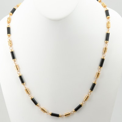 18K Yellow Gold Black Onyx Necklace