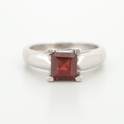 14K White Gold Garnet Solitaire Ring