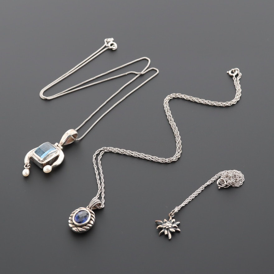 Sterling Silver Gemstone Pendant Necklaces Including Synthetic Sapphire