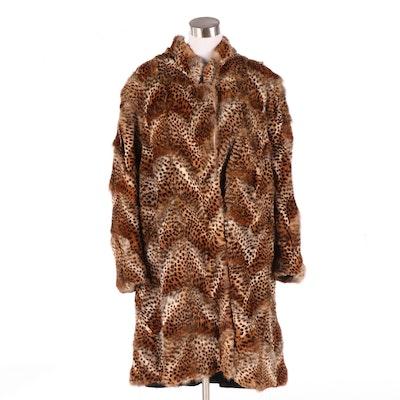 Escada Reversible Cheetah Dyed Rabbit Fur Coat