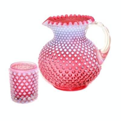 "Fenton ""Cranberry Opalescent Hobnail"" Glass Pitcher and Tumbler"