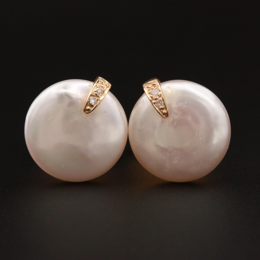 14K Yellow Gold Cultured Pearl Coin Stud Earrings Accented with Diamonds