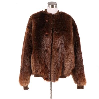 Beaver Fur Bomber Style Jacket