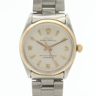 Vintage Rolex Oyster Perpetual 18K Yellow Gold and Stainless Steel Wristwatch