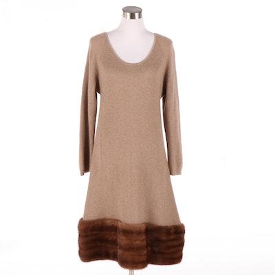 Donna Karan Original Sample Cashmere Ribbed Knit Dress with Mink Fur Trim