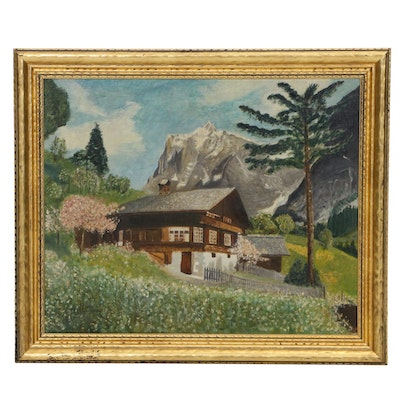 Adolf Berthold Alpine Landscape with Chalet Oil Painting
