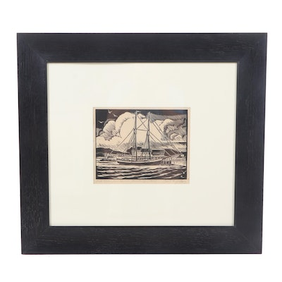 "Carroll Thayer Berry Woodcut ""Booth Tarkington's Schooner"""