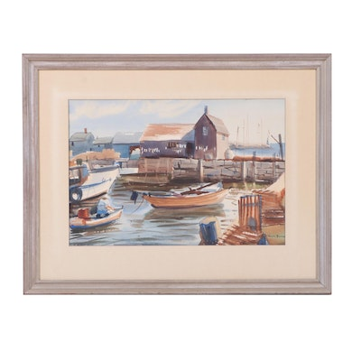 Jean Boone Watercolor Painting of Harbor Scene