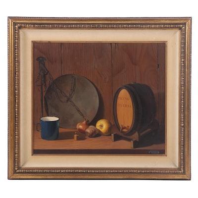 "V. Fazzini Still Life Oil Painting ""Piceno Riserva"""