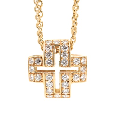 18K Yellow Gold Diamond Cross Pendant with Double Chain Necklace