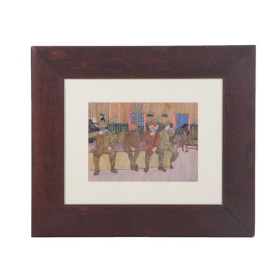 Daphne French Dunbar Gouache Painting of World War One Soldiers, Dated 1919