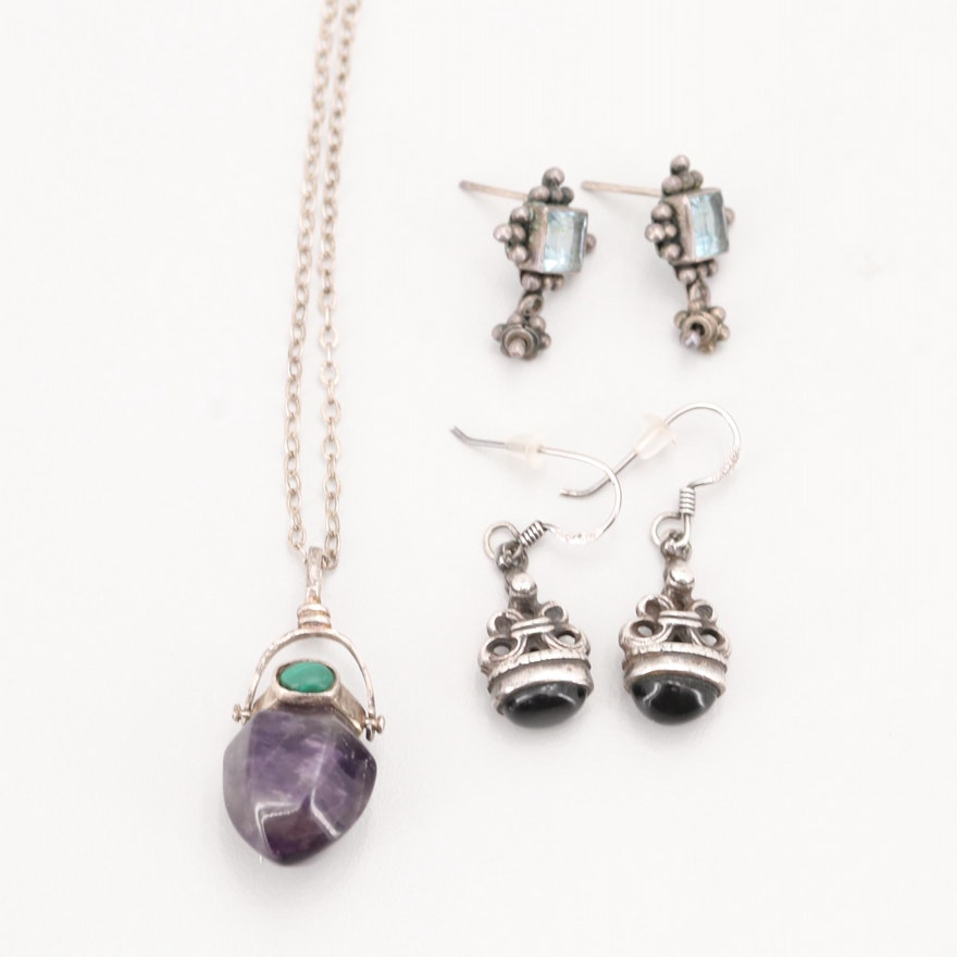 Sterling Silver Gemstone Pendant Necklace and Earrings