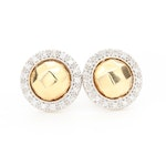 Charriol 18K White Gold Diamond Button Earrings