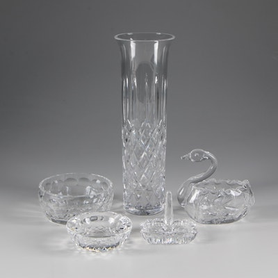 Atlantis Crystal Vase with Waterford Crystal Ashtray, Ring Dish, and More