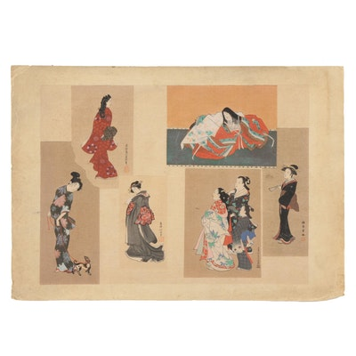 Japanese Ukiyo-e Woodblock Print of Beautiful Women