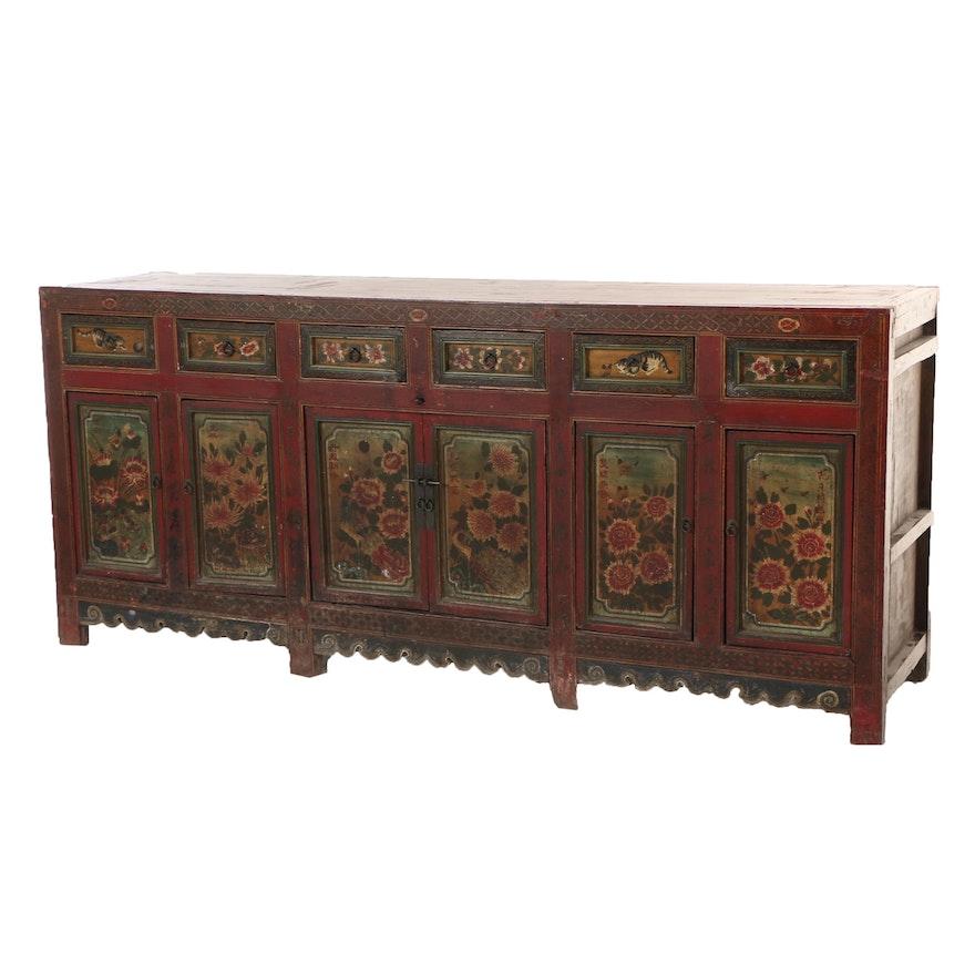 Sino-Tibetan Polychrome-Decorated Sideboard, 19th Century
