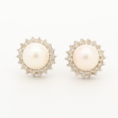 14K White Gold Cultured Pearl and Diamond Halo Earrings