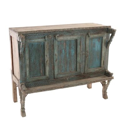 Tibetan Blue-Painted and Carved Hardwood Cabinet, 20th Century
