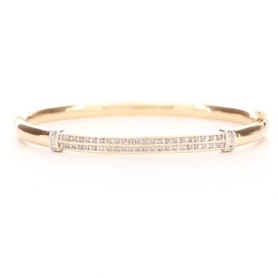 Vintage 10K Yellow Gold Diamond Hinged Bangle