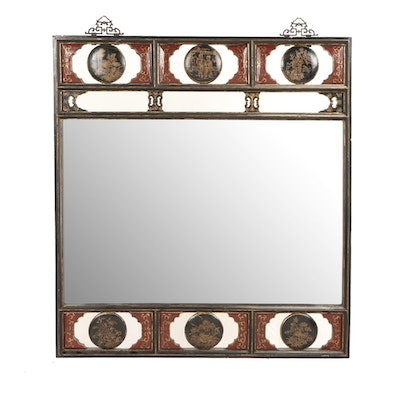 Chinese Black, Red, and Gilt Lacquer Mirror