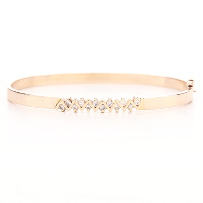 Vintage 10K Yellow Gold Diamond Hinged Bangle with 14K Yellow Gold Gallery