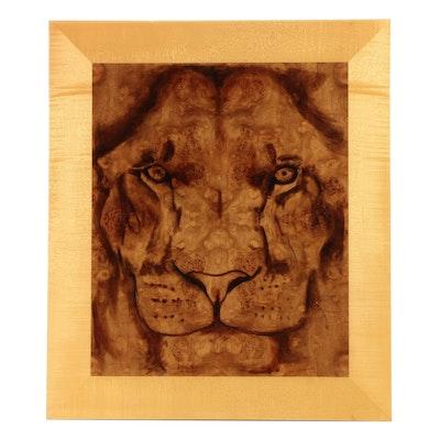 """Mark Campbell Oil Painting on Bleached Carpathian Burl """"Carpathian Lion"""""""