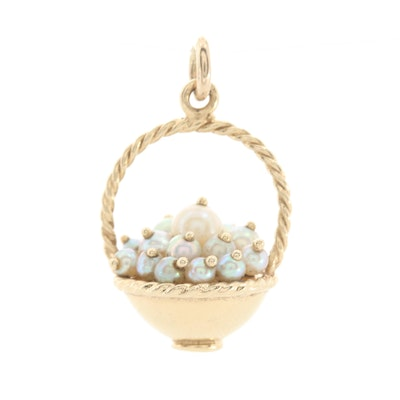 14K Yellow Gold Cultured Pearl Basket Pendant
