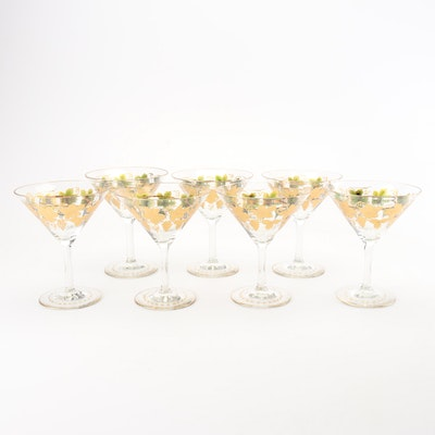 Seven Hand Painted and Gilt Shrimp Cocktail Glasses with Sauce Inserts