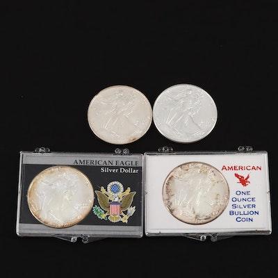 Four One Dollar U.S. Silver Eagles
