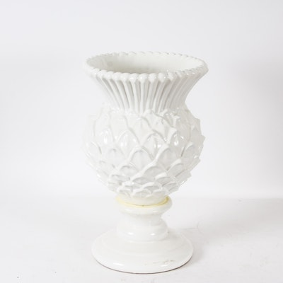 "MacKenzie-Childs White Glazed ""Cheltenham Thistle"" Floor Vase"