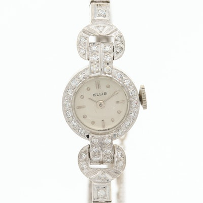14K White Gold and Diamond Swiss Ellis Wristwatch