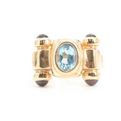 14K Yellow Gold, Blue Topaz and Garnet Ring