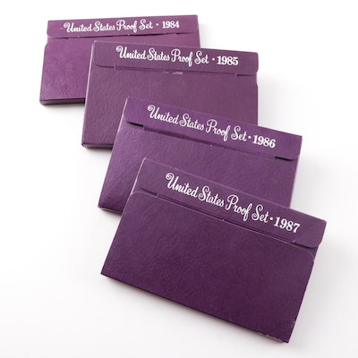 Four United States Mint Proof Sets 1984,1985,1986,1987