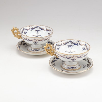 Footed Teacup and Saucer Set