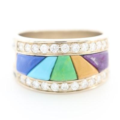 14K White Gold Diamond and Gemstone Inlay Ring