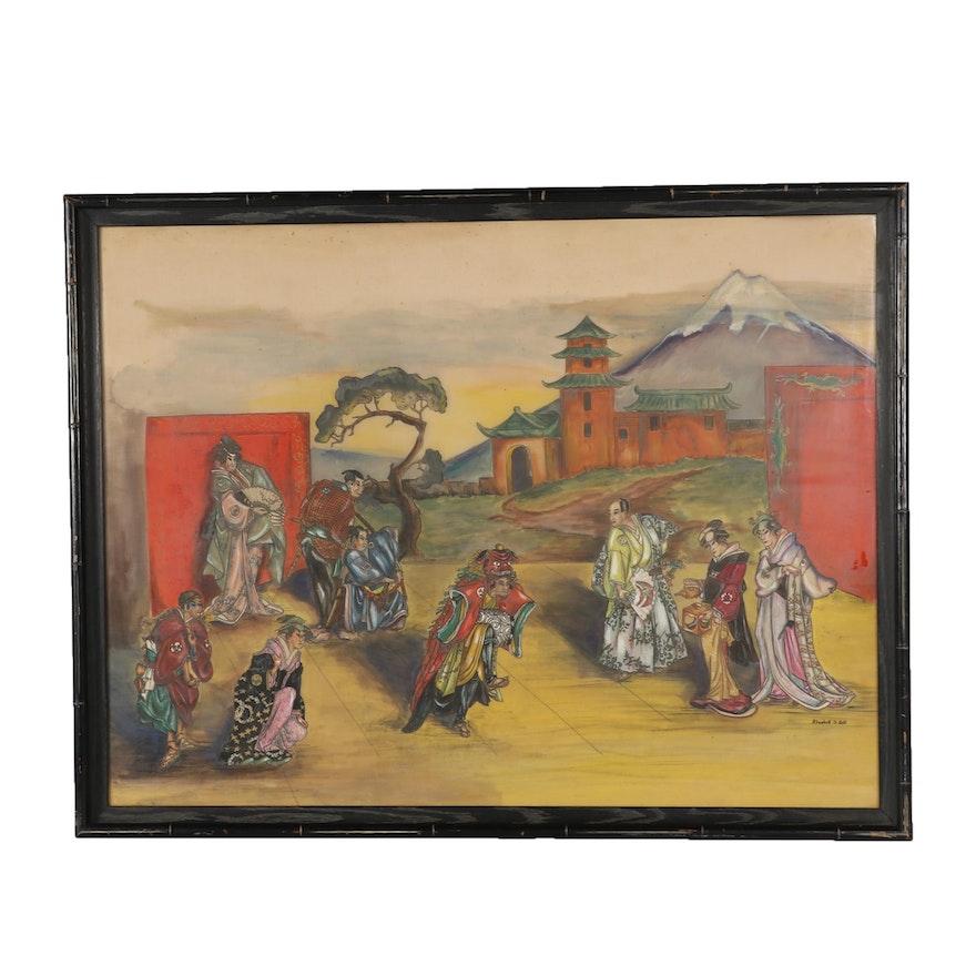 Elizabeth S. Roth Gouache Painting of Japanese Kabuki Play
