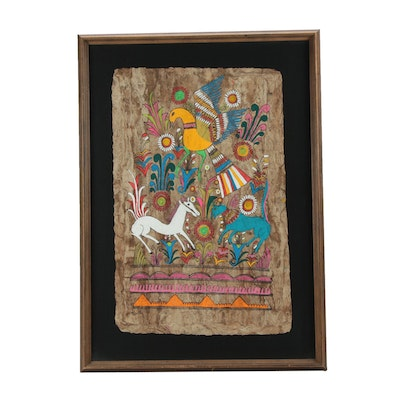 Mexican Amate Bark Folk Painting