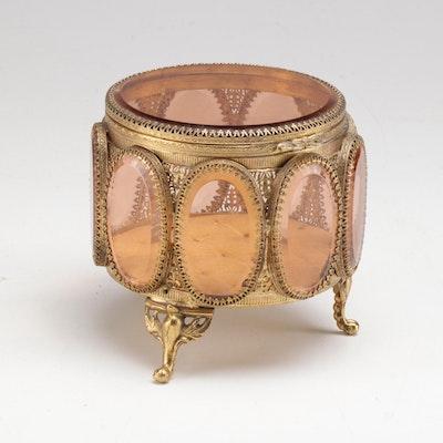 Ormolu Jewelry Casket with Rose Beveled Glass