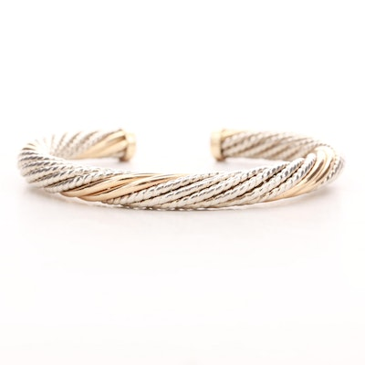 Carla Corporation Sterling Silver and 14K Yellow Gold Twist Motif Cuff