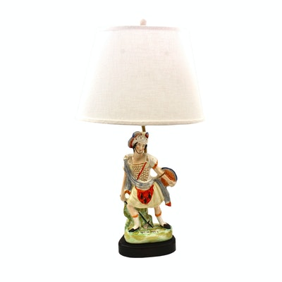 Converted Staffordshire William McCready as Rob Roy Table Lamp, circa 1840s