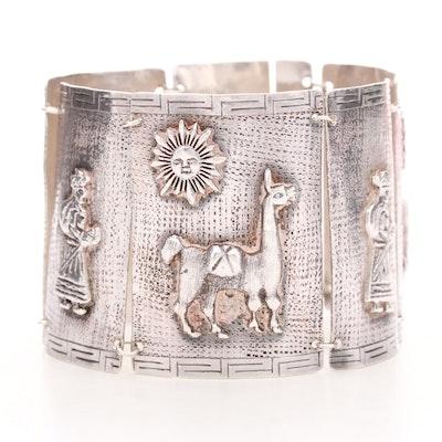 Vintage Peruvian Sterling Silver Bracelet with Embossed Folklore Motifs