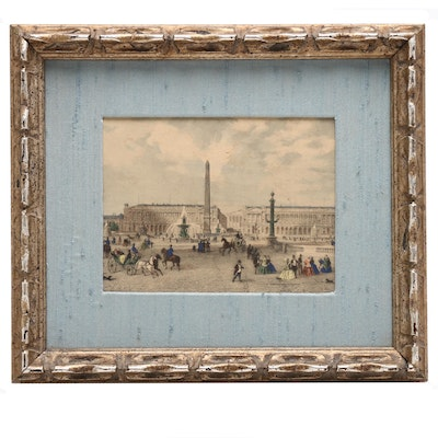 View of Paris Hand-Colored Wood Engraving