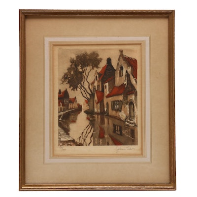 Julien Celos Hand-colored Etching of Dutch Canal Scene
