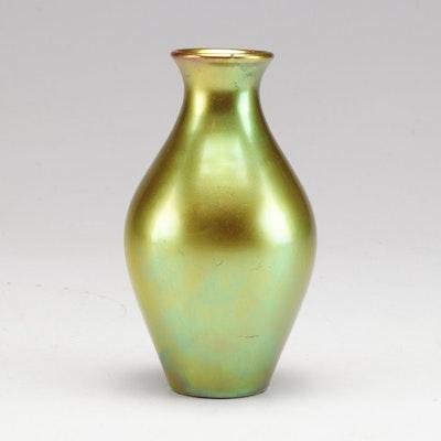 Zsolnay Pecs Green Gold Eosin Glaze Ceramic Vase